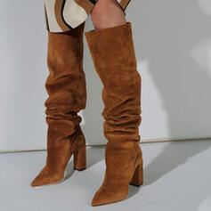 Frauen Veloursleder Stämmiger Absatz Stiefel über Knie Schneestiefel Winterstiefel mit Einfarbig Schuhe