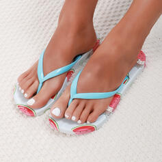 Frauen PVC Flascher Absatz Sandalen Flache Schuhe Flip Flops Pantoffel mit Einfarbig Schuhe