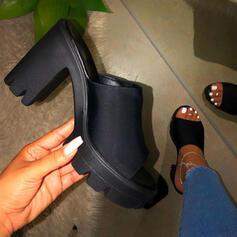 Frauen Veloursleder Stämmiger Absatz Sandalen Absatzschuhe Peep Toe Pantoffel Heels Round Toe mit Einfarbig Schuhe