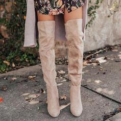 Frauen Veloursleder Stämmiger Absatz Stiefel über Knie Round Toe mit Geraffte Einfarbig Schuhe