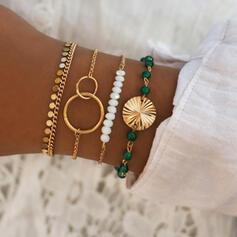 Modisch kühlen Legierung mit Nachahmungen von Perlen Frauen Damen Armbänder (Satz 4 Paare)