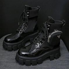 Stiefel Stiefelette Schneestiefel Martin Stiefel High Top Round Toe mit Reißverschluss Zuschnüren Andere Farbblock Einfarbig Schuhe