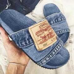 Frauen Baumwollstoff Flascher Absatz Sandalen Flache Schuhe Peep Toe Pantoffel mit Spleißfarbe Schuhe