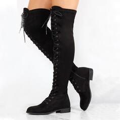 Frauen PU Stämmiger Absatz Stiefel über Knie Round Toe mit Reißverschluss Zuschnüren Schuhe
