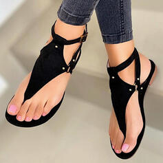 Frauen PU Flascher Absatz Sandalen Flache Schuhe Peep Toe Flip Flops mit Niete Hohl-out Schuhe
