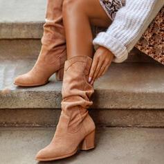Frauen PU Stämmiger Absatz Stiefel-Wadenlang Heels Round Toe mit Geraffte Einfarbig Schuhe