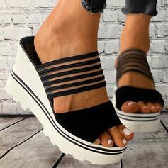 Frauen PVC Keil Absatz Sandalen Plateauschuh Keile Peep Toe Pantoffel mit Hohl-out Verband Schuhe