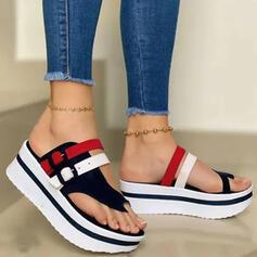 Frauen PU Keil Absatz Sandalen Plateauschuh Keile Peep Toe Pantoffel Zehenring Heels mit Schnalle Hohl-out Spleißfarbe Schuhe