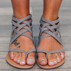 Frauen PU Flascher Absatz Sandalen Flache Schuhe Peep Toe Flip Flops mit Gummiband Schuhe