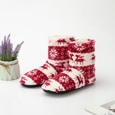 Frauen PU Flascher Absatz Schneestiefel Round Toe Winterstiefel mit Tierdruckmuster Bestickt Schuhe