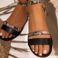 Frauen Kunstleder Flascher Absatz Sandalen Flache Schuhe Peep Toe mit Hohl-out Spleißfarbe Schuhe