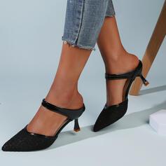 Frauen Stoff Mesh Kätzchen Absatz Sandalen Absatzschuhe Geschlossene Zehe Pantoffel Spitze mit Hohl-out Einfarbig Schuhe