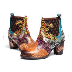 Frauen Kunstleder Stämmiger Absatz Stiefelette Round Toe mit Blumen Schuhe