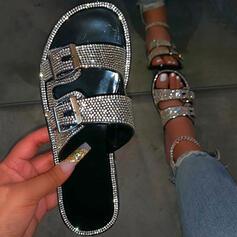 Frauen Kunstleder Funkelnde Glitzer Flascher Absatz Sandalen Flache Schuhe Peep Toe Pantoffel mit Strass Schnalle Schuhe