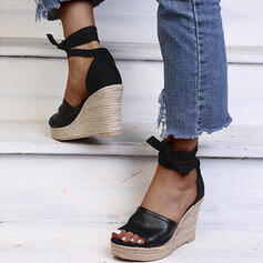Frauen Kunstleder Keil Absatz Sandalen Plateauschuh Keile Peep Toe Heels mit Zuschnüren Hohl-out Schuhe