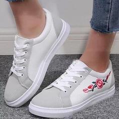 Frauen PU Flascher Absatz Flache Schuhe Round Toe Espadrille mit Applikationen Zuschnüren Schuhe