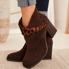 Frauen Veloursleder Stämmiger Absatz Stiefelette Quadratischer Zeh mit Tierdruckmuster Reißverschluss Schuhe