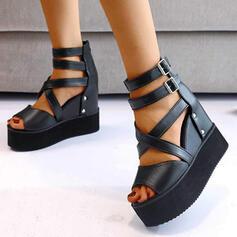 Frauen PU Keil Absatz Sandalen Keile Peep Toe Heels Round Toe mit Schnalle Einfarbig Kreuz und quer Schuhe