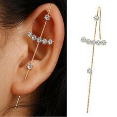 Glänzende Einfache Kreuz Legierung Strasssteine Frauen Ohrringe