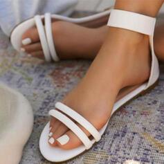 Frauen Kunstleder Flascher Absatz Sandalen Flache Schuhe Peep Toe mit Schnalle Hohl-out Einfarbig Schuhe