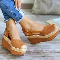 Frauen Stoff Keil Absatz Sandalen Keile Peep Toe Heels Round Toe mit Schnalle Einfarbig Schuhe