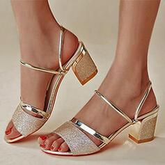 Frauen PU Stämmiger Absatz Sandalen Absatzschuhe Peep Toe Heels mit Pailletten Hohl-out Schuhe