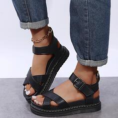 Frauen PU Flascher Absatz Sandalen Plateauschuh Peep Toe mit Schnalle Hohl-out Schuhe