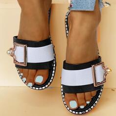 Frauen PVC Flascher Absatz Sandalen Peep Toe Pantoffel mit Schnalle Schuhe
