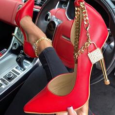 Frauen PU Stöckel Absatz Absatzschuhe Geschlossene Zehe Spitze mit Kette Hohl-out Schuhe