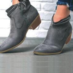 Frauen Veloursleder Stämmiger Absatz Stiefelette Spitze mit Reißverschluss Andere Einfarbig Schuhe