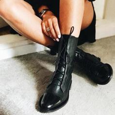 Frauen PU Stämmiger Absatz Stiefelette mit Zuschnüren Schuhe