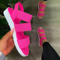 Frauen PU Flascher Absatz Sandalen Flache Schuhe Peep Toe mit Hohl-out Einfarbig Schuhe