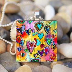 Herz Romantisch Valentinstag Legierung Glas Frauen Halsketten