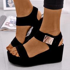 Frauen PU Keil Absatz Sandalen Plateauschuh Keile Peep Toe Heels mit Schnalle Schuhe