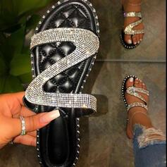 Frauen PU Flascher Absatz Sandalen Flache Schuhe Peep Toe Pantoffel Round Toe mit Strass Funkelnde Glitzer Schuhe