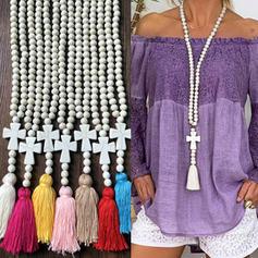 Stilvoll Einfache Holzperlen mit Quasten Frauen Halsketten