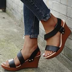 Frauen PU Keil Absatz Sandalen Plateauschuh Keile Peep Toe Slingpumps mit Hohl-out Einfarbig Schuhe