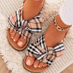 Frauen Stoff Flascher Absatz Sandalen Flache Schuhe Peep Toe Pantoffel Round Toe mit Bowknot Spleißfarbe Gestreift Schuhe