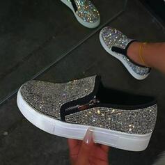 Frauen PU Flascher Absatz Flache Schuhe Low Top Round Toe Schlüpfen mit Strass Niete Schuhe