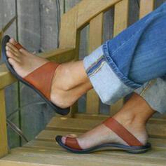 Frauen PU Flascher Absatz Sandalen Peep Toe Pantoffel Schuhe