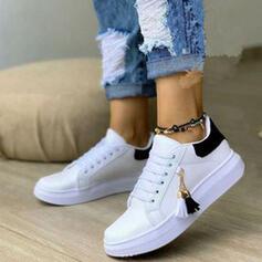 Frauen PU Flascher Absatz Flache Schuhe Round Toe Tanzschuhe mit Zuschnüren Quaste Schuhe