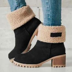 Frauen Veloursleder Stämmiger Absatz Stiefelette Schneestiefel Round Toe Winterstiefel mit Spleißfarbe Atmungsaktiv Schuhe