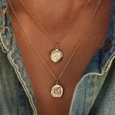 Jahrgang Legierung mit Star Mond Münze Sonne Halsketten (Set von 2)