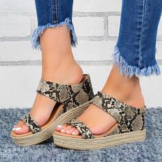 Frauen PU Keil Absatz Sandalen Keile mit Einfarbig Schuhe