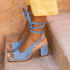 Frauen Veloursleder Stämmiger Absatz Sandalen Absatzschuhe Peep Toe Heels mit Zuschnüren Schuhe