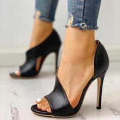 Frauen PU Stöckel Absatz Sandalen Absatzschuhe Peep Toe Heels mit Andere Schuhe