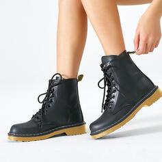 Frauen Kunstleder Niederiger Absatz Geschlossene Zehe Stiefel Round Toe Martin Stiefel mit Zuschnüren Schuhe
