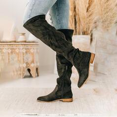 Frauen Veloursleder Niederiger Absatz Kniehocher Stiefel Reitstiefel Round Toe mit Geraffte Einfarbig Schuhe