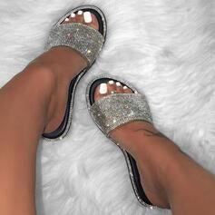 Frauen PU Flascher Absatz Sandalen Flache Schuhe Peep Toe Pantoffel mit Funkelnde Glitzer Spleißfarbe Schuhe