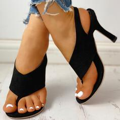 Frauen PU Stöckel Absatz Sandalen Absatzschuhe Peep Toe Flip Flops Heels mit Schnalle Schuhe